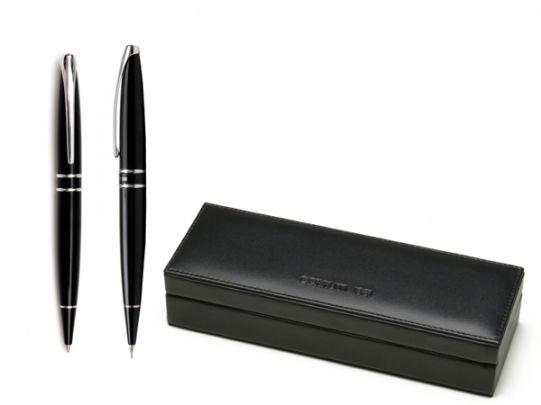 Комплект химикалка и авт. молив Cerruti Silver Clip