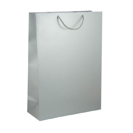 Подаръчен плик сребрист гланцов - голям, 46х33х14 см