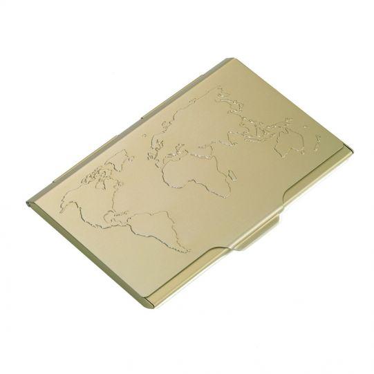 Визитник TROIKA - GLOBAL CONTACTS, цвят GOLD
