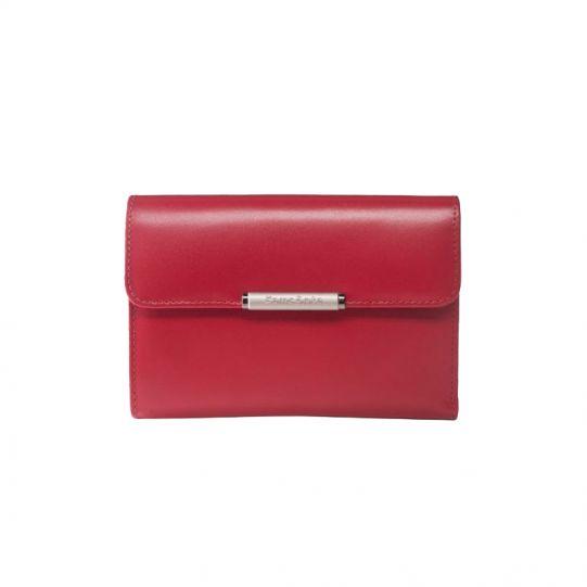 Хоризонтален дамски портфейл червен от естествена кожа