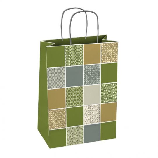 Подаръчна торбичка, квадрати, размер М