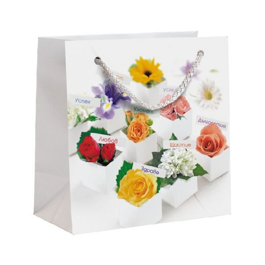 Подаръчна торбичка с цветя, размер S