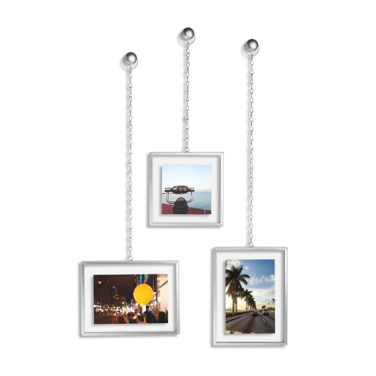 """UMBRA Комплект от 3бр. висящи рамки за снимки """"FOTOCHAIN"""" - цвят никел"""
