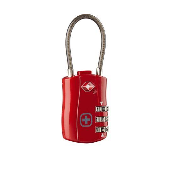 Катинар с трицифрен код и кабел Wenger Cable Lock TSA, червен