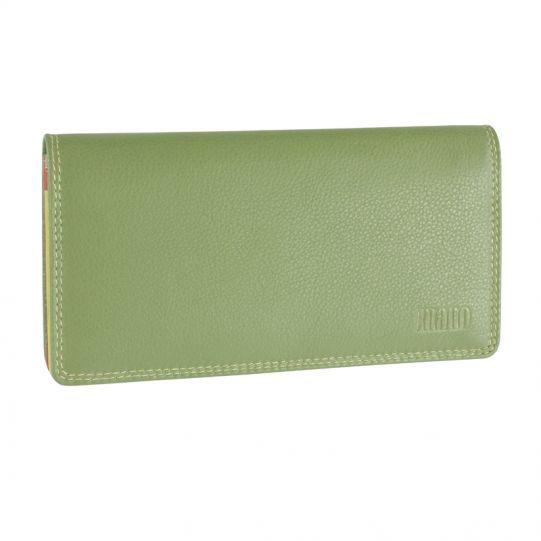 Дамски портфейл Mano Multicolorus, коняк/светлозелен