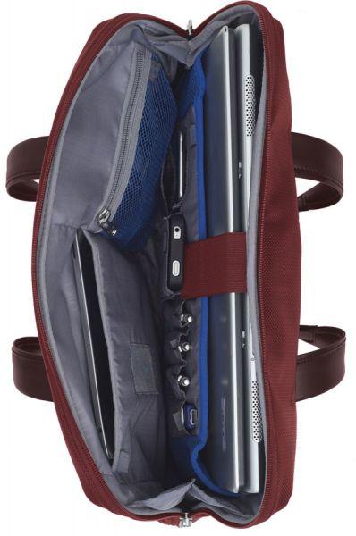 """Дамска бизнес чанта 14.1"""" S-OULITE в тъмно червен цвят с елементи от естествена кожа"""
