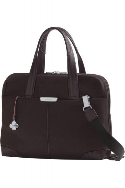 """Дамска бизнес чанта 14.1"""" S-OULITE в тъмно кафяв цвят и елементи от кожа"""