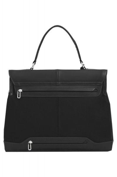 """Дамска бизнес чанта 14.1"""" S-OULITE в черен цвят и елементи от кожа"""
