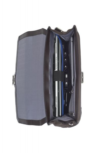 """Дамска бизнес чанта S-Oulite за 14,1"""" инча лаптоп в тъмно кафяво с елементи от естествена кожа"""