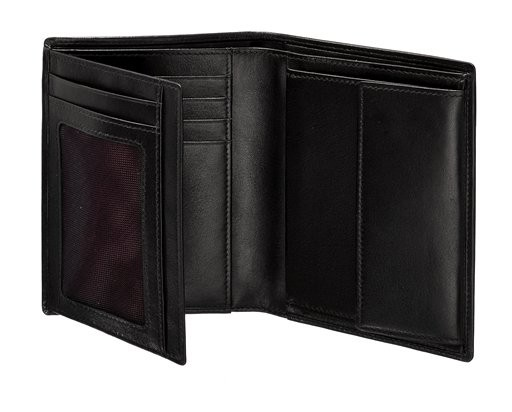 Мъжки черен портфейл от естествена кожа, модел F68.09.102