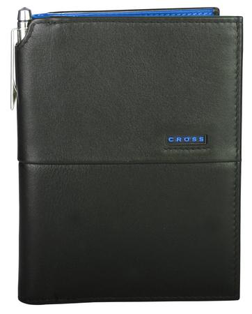 Мъжки кожен портфейл за пътуване Cross от колекция CR Black/Blue