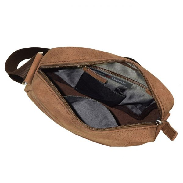 Кожена чанта за през рамо Wenger SWISSGEAR DOWN UNDER, кафява
