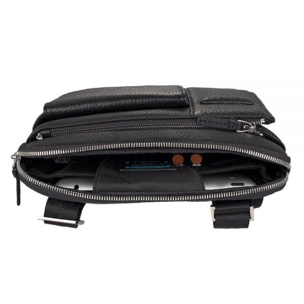 Компактна вертикална чантичка за рамо с отделение за iPad/iPad Air черна