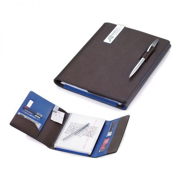 Кожена папка A5 с тефтер и химикалка TROIKA - BLUE CANYON