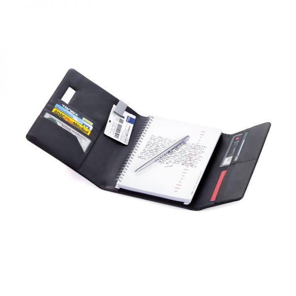 Кожена папка A5 с тефтер и химикалка TROIKA - MIDNIGHT