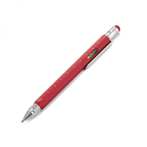 Многофункционална метална химикалка TROIKA - CONSTRUCTION red