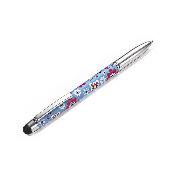 Метална химикалка с тъч скрийн TROIKA - RETRO FLOWERS
