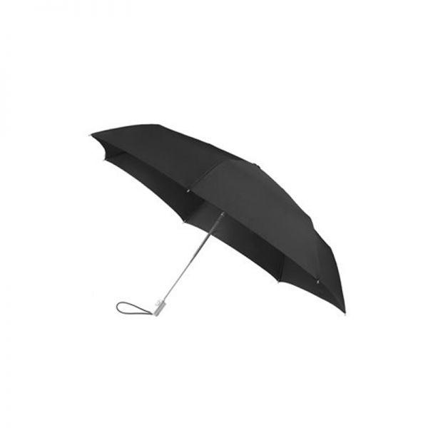 Тройно сгъваем черен автоматичен чадър