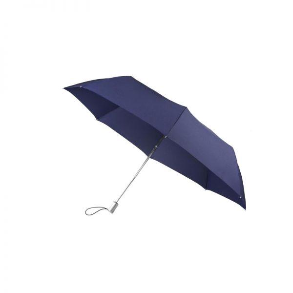 Тройно сгъваем тъмно син автоматичен чадър, 140 см в диаметър