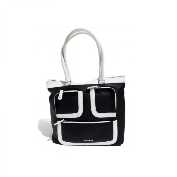 Голяма вертикална дамска чанта Park Icon в черно и бяло