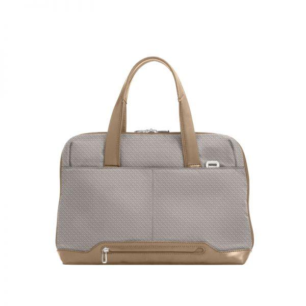 """Дамска бизнес чанта 14.1"""" S-OULITE в сив цвят и елементи от кожа"""