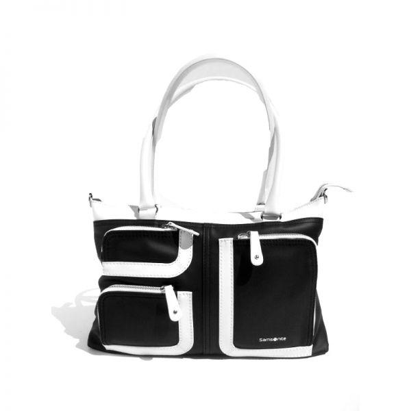 Средна вертикална дамска чанта Park Icon в черно и бяло