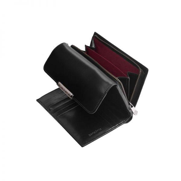 Дамски черен портфейл от естествена кожа 12 отделения за карти U88.09.303