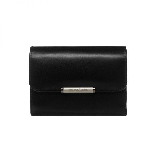 Елегантен черен дамски портфейл от естествена кожа с 4 отделения за карти U88.09.301