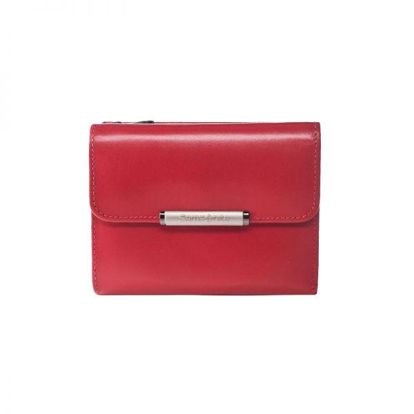 Дамски червен портфейл от естествена кожа с отделения за карти