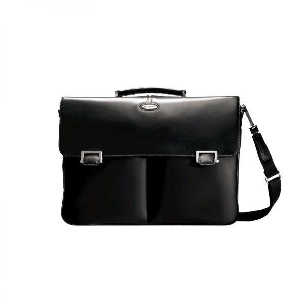 Черна чанта за 15.4 инча лаптоп от фина напа кожа, размер L Integra Leather