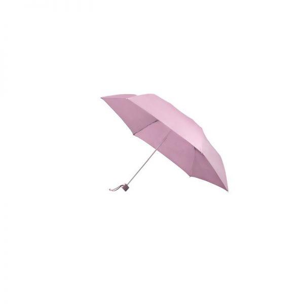 Тройно сгъваем ръчен чадър в металик червено