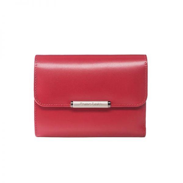 Елегантен червен дамски портфейл от естествена кожа с 4 отделения за карти