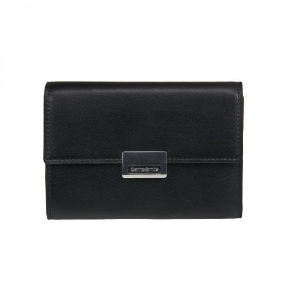 Елегантен дамски черен портфейл от естествена кожа