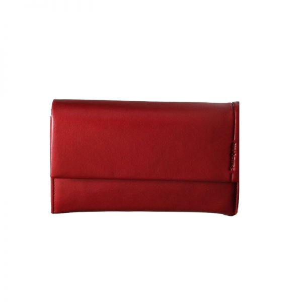 Червен дамски портфейл от естествена кожа