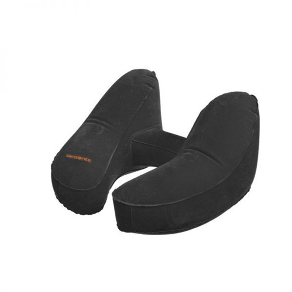 Комфортна надуваема възглавничка за път с калъфче, цвят графит