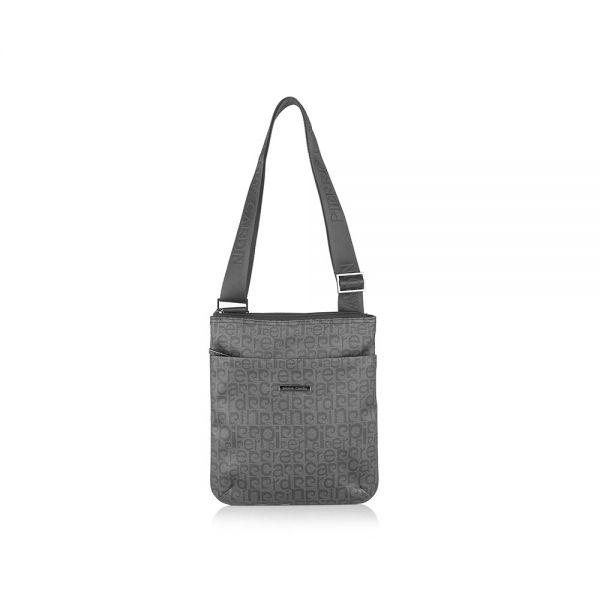Мъжка чанта Pierre Cardin, плат с лого, сива