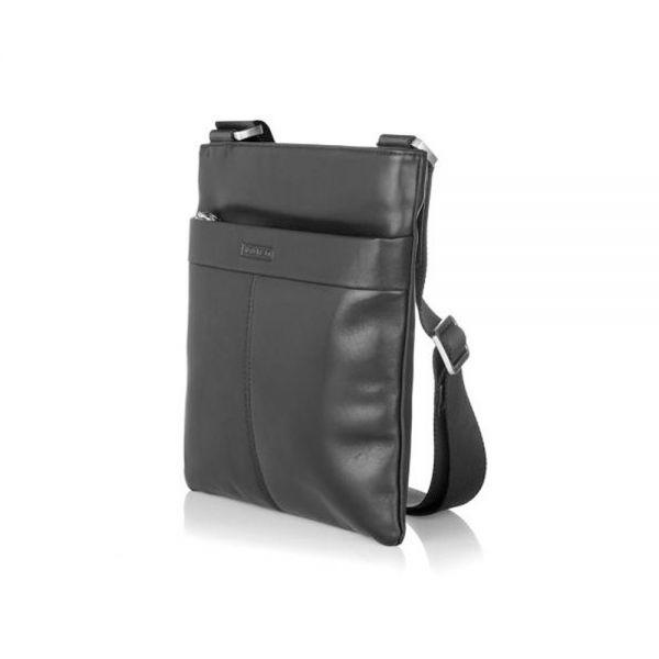 Мъжка кожена чанта SILVER FLAME, черна