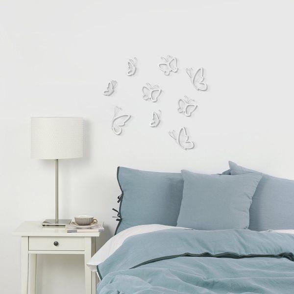 """UMBRA Комплект декорация за стена """"MONARCHY"""" - 9 бр. пеперуди - 3 размера - бял цвят"""