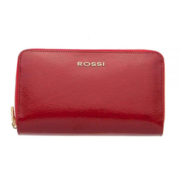 Дамско портмоне ROSSI,с двоен цип - Червено Шагрен