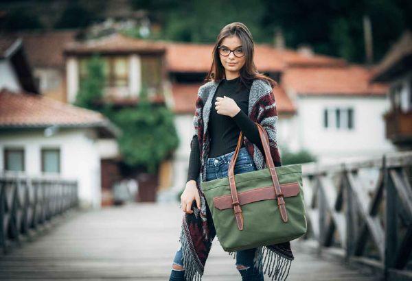 Дамска чанта DiGeordie ТОТЕ, Военно зелен