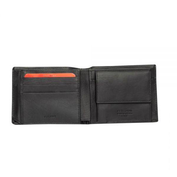 Мъжки портфейл Pierre Cardin, черен на черти