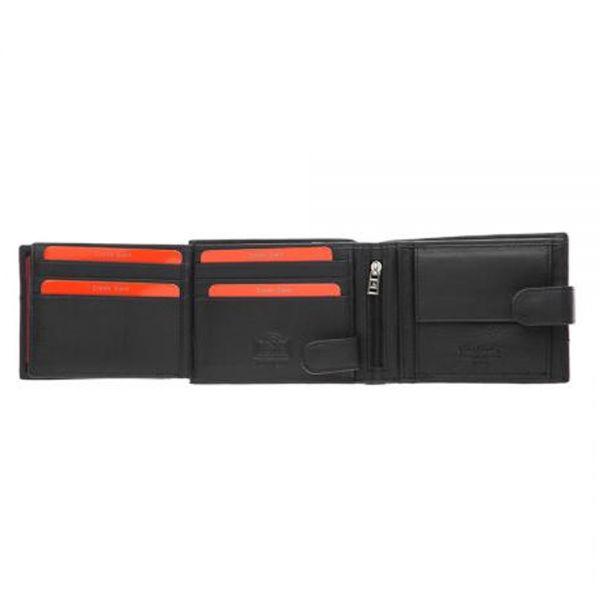 Малък мъжки портфейл Pierre Cardinс, с хоризонтална червена лента