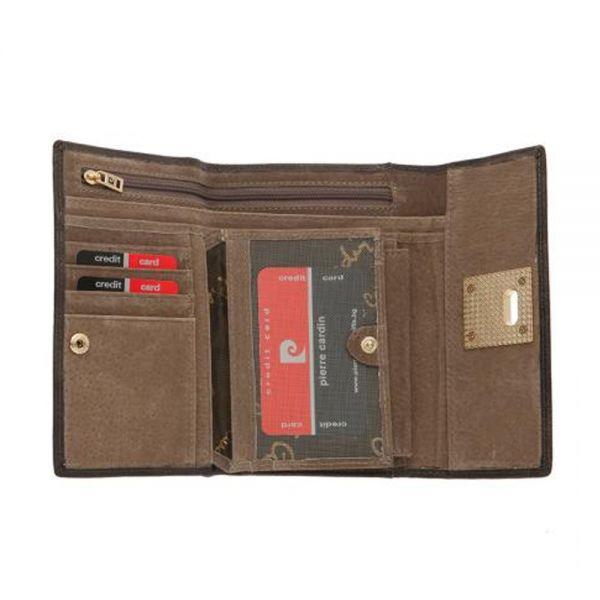 Дамски портмоне Pierre Cardin, кафяво с механизъм