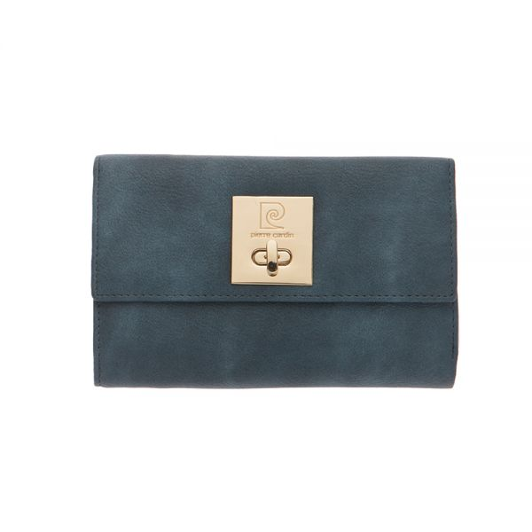 Дамски портмоне Pierre Cardin, синьо с механизъм