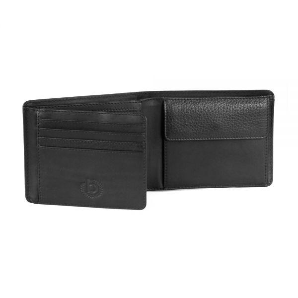 Кожен калъф за карти Bugatti Romano, RFID 6CC, естествена кожа, черен