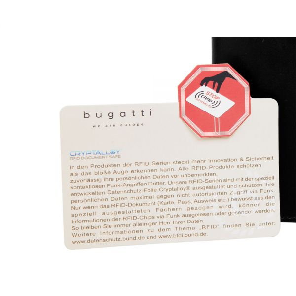 Вертикален кожен портфейл Bugatti Domus 8CC, RFID, естествена кожа, коняк