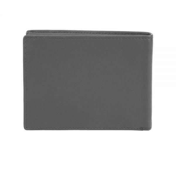 Хоризонтален кожен портфейл Bugatti Domus, RFID, естествена кожа, сив