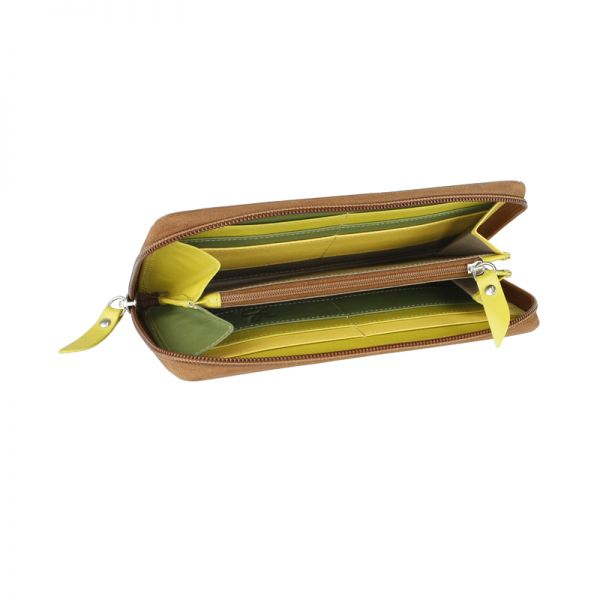 Дамски портфейл Mano Multicolorus, зелен/светлозелен