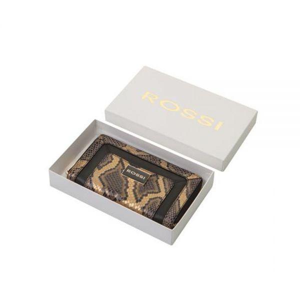 Дамско портмоне ROSSI, Gold & Black Python