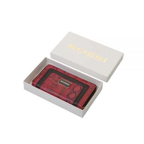 Дамско портмоне ROSSI, Dark Red & Black Python